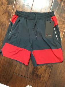 "Lululemon Mens SWITCH UP SHORTS red black 7"" NWT SURGE SWIFT running SMALL"