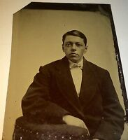 Antique Victorian American Handsome Young Man! Big Coat Fashion Tintype Photo!