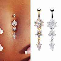 Navel Belly Button Rings Crystal Flower Dangle Bar Barbell Body Piercing Jewelry
