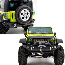 "Rock Crawler Front+Rear Bumper+2"" Hitch+Winch Plate for 07-18 Jeep Wrangler JK"