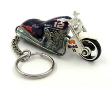Custom Keychain Scorchin Scooter Mobil 1 #12 NASCAR Racing Motorcycle Key Fob