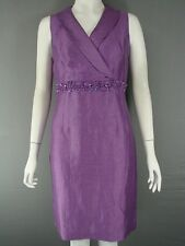 Linen Patternless V-Neck Dresses for Women