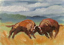 ACEO Buffalo Bison Autumn Original Oil painting Art 2.5x3.5in by MK