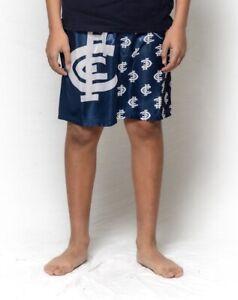 Boys Size 8-14 AFL Official Carlton Blues Satin Boxer Shorts Sleep Shorts
