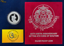 2015 BHUTAN 500 NGULTRUM 60th BIRTH 4th KING JIGME SILVER PROOF COIN LOW MINTAGE