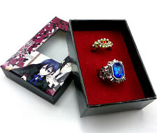 2pcs Black Butler Kuroshitsuji Ciel Alois Trancy Cosplay rings New in Box Gift