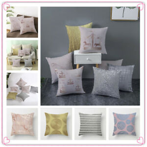 New 18 x18 inch Gold Pink Grey POLYESTER CUSHION COVER PILLOW CASE HOME SOFA OFF