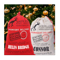 Personalised Large Canvas Santa Sack Drawstring Christmas Bag Red/Beige