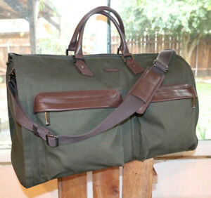 Hook & Albert Olive Green Canvas Brown Leather Trim Weekend Duffle Garment Bag