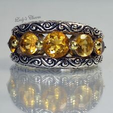 Barbara Bixby Citrine Band Sterling Silver 18k Gold Ring Size 6
