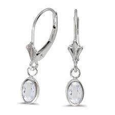 14k White Gold Oval White Topaz Bezel Lever-back Earrings