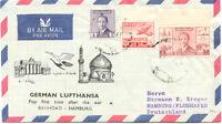 """2415 IRAK 1956 sehr selt ERSTFLUG LUFTHANSA mit LH 620 """"BAGHDAD, Irak - HAMBURG"""""""