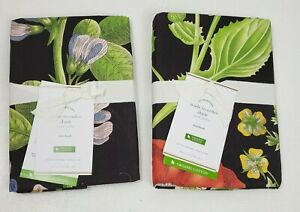 Pottery Barn Set of 2 Poppy Organic Percale Pillow Shams Standard Black Floral