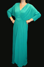 S~M VTG 1970s MAXI DRESS MISS ELLIETTE Knit Caftan TEAL GREEN 70s Party GOWN
