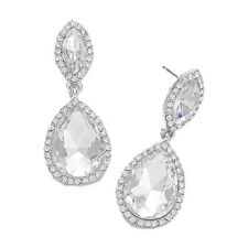 Clear Silvertone Diamante Earrings Sparkly Bling Prom Party Bridal Dangly 0387