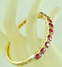 Ruby Sapphire lady Bangle Bracelet A38 Fashion Jewelry Gems 14K Yellow Gold Red