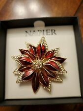 Napier Red Poinsettia Pin Brooch Christmas Jewelry Rhinestones Flower Gift Boxed