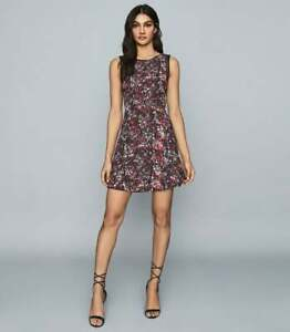 NEW REISS Louise Floral Sleeveless Fit & Flare Mini Dress - Size 8 #D3445