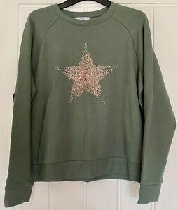 NEXT Ladies Khaki Green Star Print Hoodie Sweatshirt - Size M - NEW