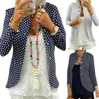 Womens Polka Dot Button Blazer Work Jacket Casual Office Coat Outwear Tops