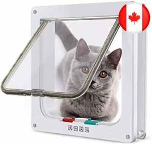 4 Way Locking Cat Door, Lockable Cat Flap Doors for Cats and Small Dogs, Install