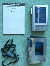 Toshiba KT-S1 personal cassette AM/FM Stereo Radio w/RP-S2 tuner, cover & manual