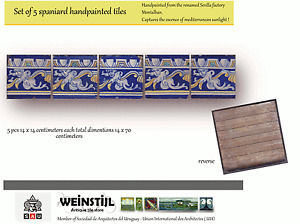 Set of 5 spaniard tiles cherubs handpainted c1900 by Montalban