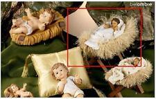 GESÙ ENFANT GÉANT Cm.21x12 h.15 con MANGEOIRE bois et PAILLE CRÈCHE NOËL