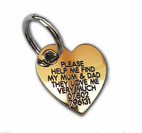 REINFORCED Deeply engraved dog tag, extra tough solid brass heart shape