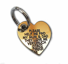 REINFORCED Dog ID Collar Tags - Deeply engraved for FREE, Heart 33x31mm