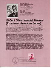 Estados Unidos Oliver Wendell Holmes Hoja primer día año 1978 (CS-339)