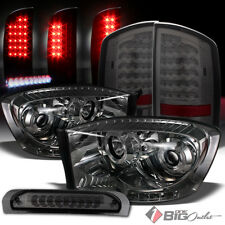 For 2006 Ram Smoked DRL Projector Headlights + LED Tail Lights + LED 3rd Brake