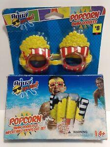 Aqua Splash Popcorn Swim Goggles And Inflateable Kickfloat Set