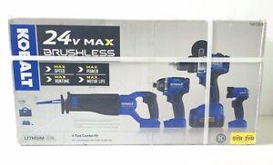 Kobalt 4-Tool 24-Volt Max Brushless Power Tool Combo Kit. V197*