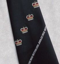 CHARLES OF LONDON QUEENS SILVER JUBILEE TIE VINTAGE 1970s 1977 NVY RETRO ROYAL