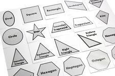 20 Geometric Shape Match with Matching Cards - Montessori 2 Part Card - Geometry