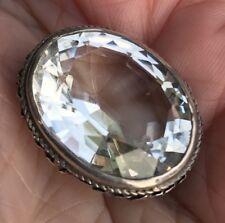 Antico Vittoriano Argento Sterling Vera Sfaccettato Rock Crystal Spilla/Pin