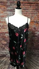 August Silks Intimates Black Floral Lace Babydoll Lingerie 100% Silk Women's L