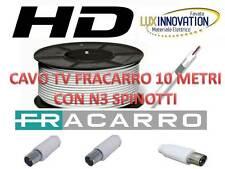 CAVO PROLUNGA 10 METRI TV ANTENNA FRACARRO 5MM  PROLUNGA TV COMPLETA DI SPINOTTI