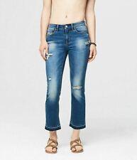 Aeropostale Women's Skinny Kick Flare Destroyed Medium Wash Crop Jean 6 Regular