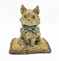 Rare NOVELTY COLD PAINTED SPELTER CAT ON A RUG INKWELL c1890