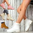 Forrado Zapatos Mujer MOTO Cordones Tobillo Botas Botines Blanco Beige Fucsia