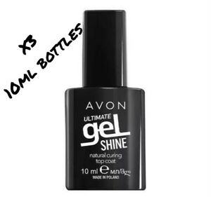 Avon ULTIMATE Gel Shine Natural Curing TOP COAT helps your mani last longer x3