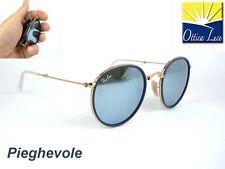 RAY BAN 3517 FOLDING 001/30 gold blu mirror PIEGHEVOLE Sunglass Sonnenbrille