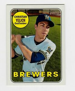 2018 Topps Heritage Baseball Christian Yellich mini 58/100 Milwaukee Brewers