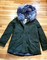 GRACE & MILA Olive Green Parka Coat Hooded Faux Fur Lining S UK10 RRP £140