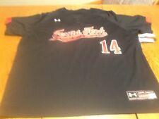 Under armour texas tech sewn on coldblack baseball jersey, mens large