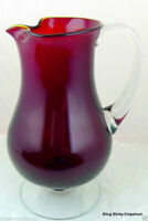 Ruby Red Art Glass Pitcher clear pedestal base and handle