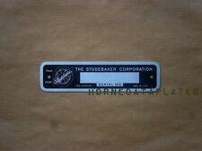STUDEBAKER CAR PICKUP TRUCK US6 SERIAL NUMBER DATA PLATE ID TAG ZINC 1938-1952