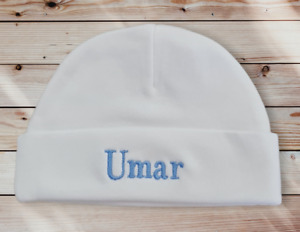 Personalised Embroidered cotton  TINY BABY /NB /0-3 / PREM hats 3 colours